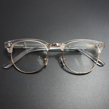 Vintage Metal Semi Rimless Glasses Clear Optical Spectacle Eyeglasses Men Women Brand Eyewear Frames Clear Lens Glasses Frame