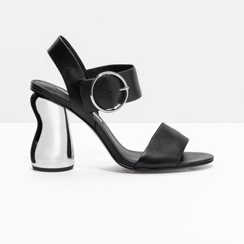 & Other Stories | O-Ring Metallic Heel Sandalette | Black