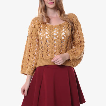 Retro Open Weave Tan Sweater