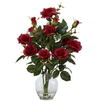 Red Rose Bush w/Vase Silk Flower Arrangement