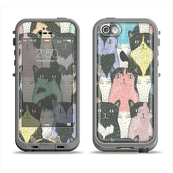 The Vintage Cat portrait Apple iPhone 5c LifeProof Fre Case Skin Set