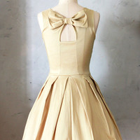 JUBILEE GOLD - Shimmery taffeta party dress with white tulle // back bow cutout // bridesmaid // champagne // pleated skirt // pockets