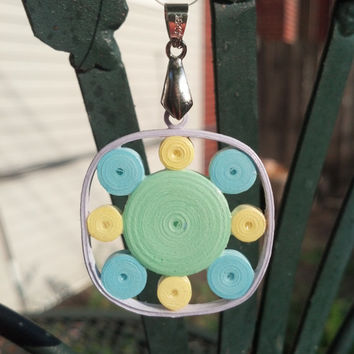 Eco-Friendly Paper Quilled Pendant Circles in Square - Pastels - quilling pendant necklace, paper jewelry, paper pendant, gift for her