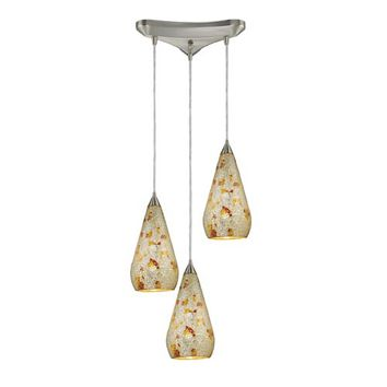 Elk Lighting 546-3SLVM-CRC Curvalo Satin Nickel Three-Light Mini Pendant with Silver Multi Crackle Glass