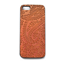 Stamped Phone Case, Boho Phone, Indie Fashion Accessories, Stamped Leather Phone Accessories, Paisley Phone Case for Iphone 4 (IP43BN002)