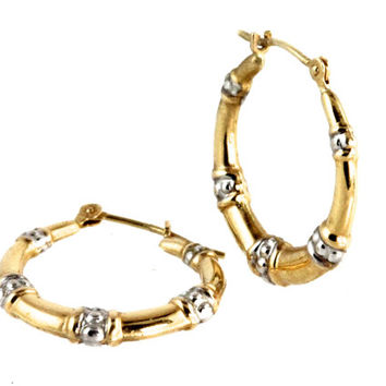 Vintage 1970's 14k Yellow and White Gold 3/4 inch Hoop Pierced Earrings