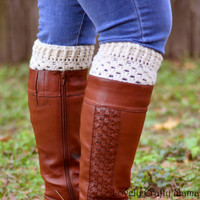 SALE, Ivory Boot Cuffs, Crochet Wool Boot Cuffs, Choose Size