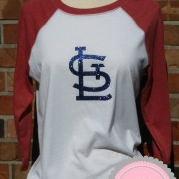 STL Cardinals Raglan Ladies Shirt Glitter Vinyl St.Louis Red White 3/4 sleeve