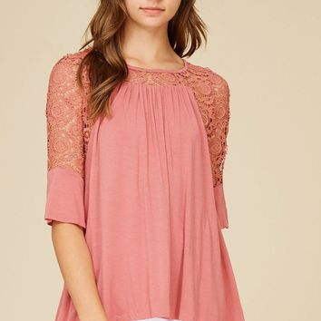 Picture This Mauve Pink Flounce Long Sleeve Lace Top