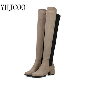 2017New High Quality Lycra Stitching Knee-High Women's Boots Round Toe Square Heel Wom