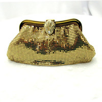 Whiting And Davis Gold Clutch With Ornate Rhinestone Closure Cocktail Bag Vintage Collectible Gift Item 2327