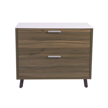 Hart 2 Drawer Lateral File Cabinet in White with Walnut Frame