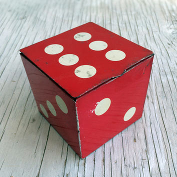 Vintage red tin in the shape of a large dice, Holland's Toffee tin Southport England. 9 cm cube.