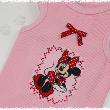 Minnie Mouse Dog Shirt -  XS,S,M..... Disney Pet Shirt, Pet Clothing, Disney Pet Clothes, Dog Apparel, Minnie Outfit, Dog Birthday Party
