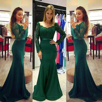2017 New Scoop Neck Green Lace Bridesmaid Dresses Court Train Long Wedding Party Dresses for Bridesmaids Vestido Longo Dress
