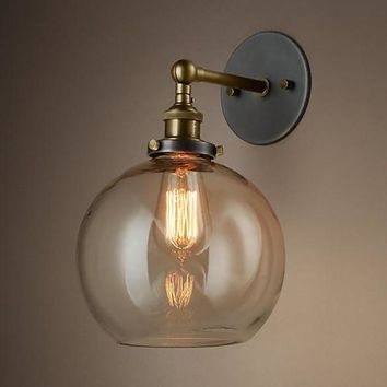 Loft Vintage Nostalgic Industrial Lustre Ameican Glass Round Ball Edison Wall Sconce Lamp Bathroom Home Decor Lighting Fixture