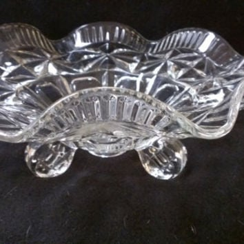 Pressed Glass Footed Compote, Candy Dish, Footed Bowl, Console Bowl  (370)
