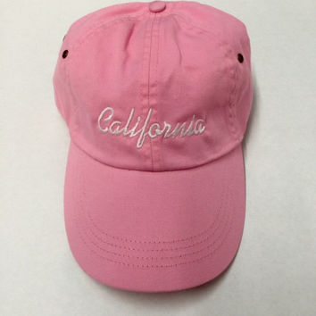 california pink baseball cap with white embroidery in the front in script 90210 custom beverly hills hollywood valdesigns instagram tumblr