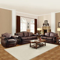 TRIBECCA HOME Myles Traditional Chocolate Bonded Leather Rolled Arm 3-piece Sofa Set | Overstock.com Shopping - The Best Deals on Living Room Sets