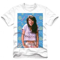 Saved By The Bell Kelly Kapowski Image Retro White Adult T-shirt