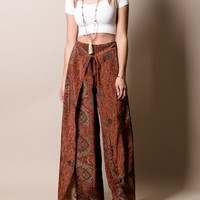 Silky Faux Wrap Pants