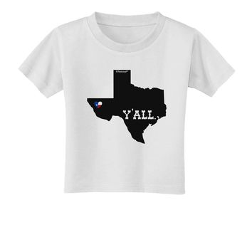 Texas State Y'all Design with Flag Heart Toddler T-Shirt by TooLoud