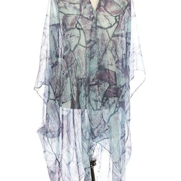 Blue Distressed Print Sheer Cover Up Poncho