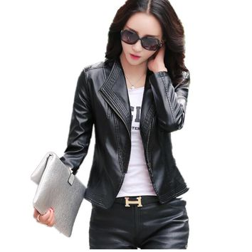 Long sleeve casual leather jackets women 2017 spring and autumn leather clothing female slim motorcycle leather coat black plus