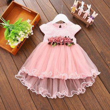 Flower Newborn Baby Dress 2019 New Summer Cute Baby Girls Clothes Mesh Solid Infant Princess Clothing 1 Year Birthday Dress