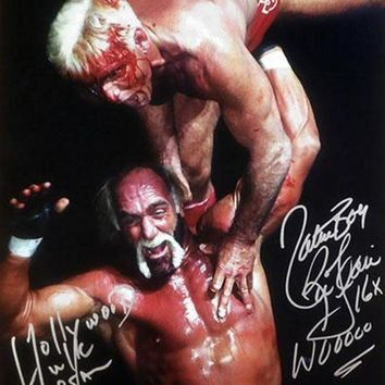ICIKJNG Hollywood Hulk Hogan & Nature Boy Ric Flair Signed Autographed Glossy 16x20 Photo (ASI COA)