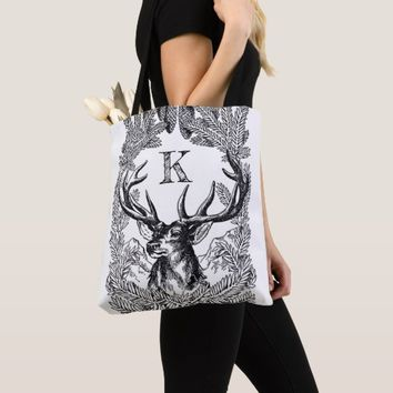 Add your own initial custom vintage deer wreath tote bag