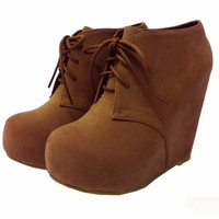 C-1 Glaze Wedge Round Toe Hidden Platform Lace Up Ankle Bootie