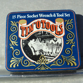 Tin Box Tin O Tools Container Vintage Design Hinged Lid Storage for Small Tools or Buttons Notions and Trinkets Free Shipping to USA