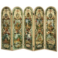 French 19th Century Five Fold Decorative Screen with Hand-Painted Scenes
