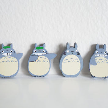 SALE Cute Totoro Magnet Set, Wooden 4 Piece, Wood Animal Magnet Set, Home Decor, Cabin Decoration, Wood Cutout, Kitchen