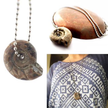 "Polished Ammonite Necklace, Bohemian Necklace, 30"" Stainless Steel Ball Chain Necklace, Nautilus Necklace, Ammonite Pendant / Ancient Fossil"