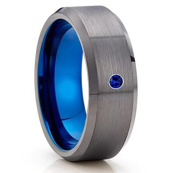 Blue Sapphire Tungsten Ring - Gunmetal Tungsten Ring - Gray Tungsten Ring