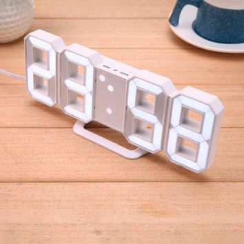 8-shape LED Table Clock digital alarm clock for Child's gift Modern Home decor 3D digital LED Wall Clock with USB charge cable