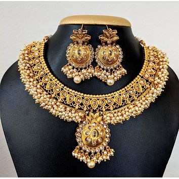 Pearl cluster bead surrounded Polki stone Bold Choker Necklace and Earring set