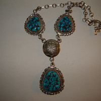 Vintage Native American Three Stone Necklace with Drop and Concho Detail