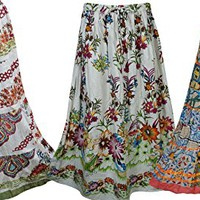 Mogul Womens Maxi Skirts Modern Printed Bohemian Long Skirts Wholesale 3 Lot