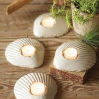 Set of Six Ceramic Shell Tealight Holders, 5 x 5.5 in