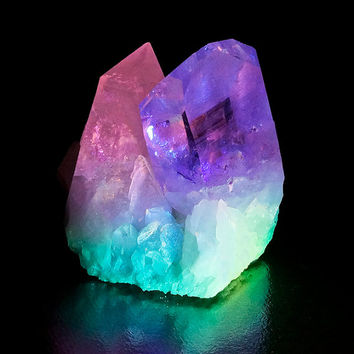 Sedona Quartz Crystal, Rainbow Art Reiki Energy Healing, Heart and 3rd Eye Chakra, Spiritual Art Yoga Decor Color Healin, Pink  Purple Decor