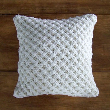 As seen in BHG magazine lattice knit pillow cover - warm white - knitted pillow - sweater pillow - hand knit