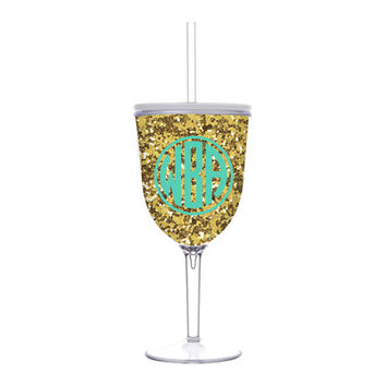 Monogrammed Glitter Acrylic Wine Glass - Striped Wine Glass - Monogrammed Wine Glass - Glitter Wine Glass with Straw