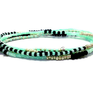 Beaded stretch wrap bracelet, multi strand seed bead bracelet, boho jewelry, bohemian, stackable, anklet, necklace, mint, silver and black