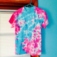 Cotton Candy Tie Dye Shirt - Speckled Tie Dye - Blue & Pink Crinkled Tie Dye