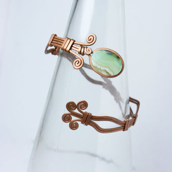 copper cuff adjustable bracelet with agate // wrist // anniversary gift // summer // hippie // ancient // hilling // mothers gift