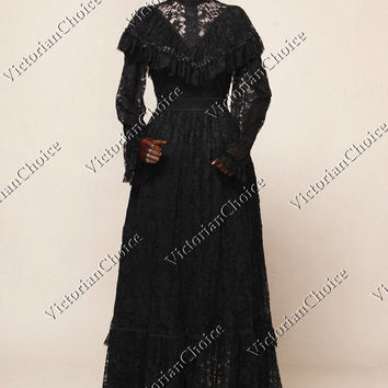 Victorian Vintage Black Lace Witch Dress Ghost Gown Halloween Costume N 392
