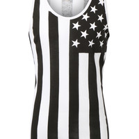 LE3NO Mens Casual American US Flag Print Sleveless Tank Top (CLEARANCE)